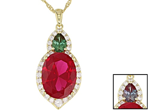Photo of 10.91ct Lab Created Ruby & Alexandrite, 1.17ctw Zircon 18k Gold Over Silver Pendant W/ Chain