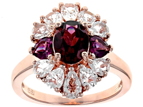 Photo of 1.76CTW RASPBERRY COLOR RHODOLITE WITH 1.58CTW WHITE TOPAZ 18K ROSE GOLD OVER STERLING SILVER RING - Size 8