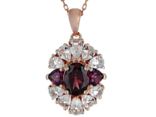 Photo of 1.76CTW RASPBERRY COLOR RHODOLITE & 1.58CTW WHITE TOPAZ 18K ROSE GOLD OVER SILVER PENDANT WITH CHAIN