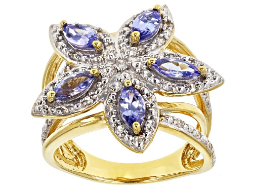 Photo of .98ctw Marquise Tanzanite with .32ctw Round White Zircon 18k Gold Over Sterling Silver Ring - Size 7