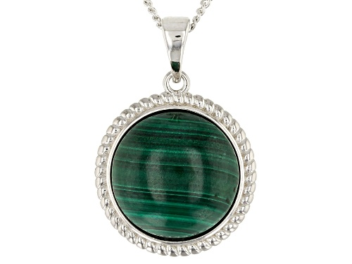 Photo of 14mm Round Cabochon Malachite Sterling Silver Solitaire Pendant With Chain