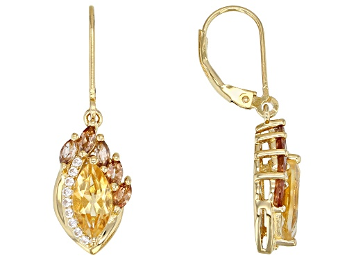 Photo of 1.64ctw Citrine with .85ctw Andalusite & .20ctw White Zircon 18k Gold Over Sterling Silver Earrings
