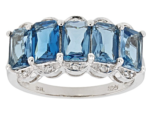 Photo of 2.78ctw Emerald Cut London blue topaz& .06ctw Zircon Rhodium Over Silver Band Ring - Size 8