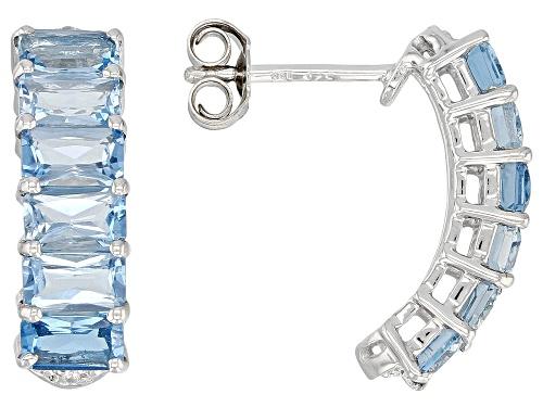 Photo of 3.26ctw Emerald Cut London blue topaz & .02ctw Zircon Rhodium Over Silver Earrings