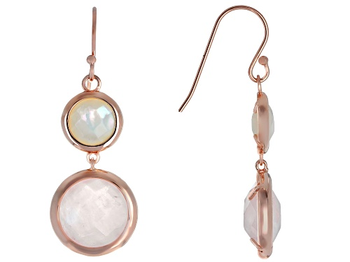 Photo of 12mm Round Rose Quartz & 8mm Mother-of-Pearl 18k Rose Gold Over Silver 2-stone Earrings