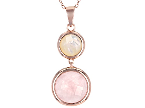 Photo of 12mm Round Rose Quartz & 8mm Mother-of-Pearl 18k Rose Gold Over Silver 2-stone Pendant W/ Chain