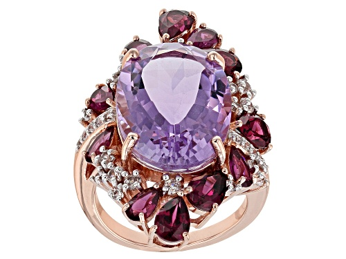 Photo of 8.71CT BOLIVIAN AMETHYST,3.59CTW RHODOLITE, 1.67CTW WHITE ZIRCON 18K ROSE OVER STERLING SILVER RING - Size 7