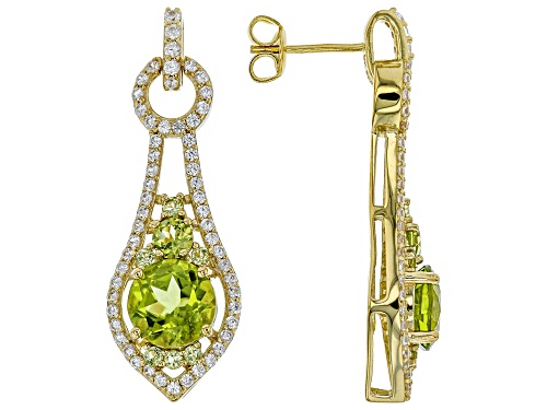 Photo of 4.38ctw Round Manchurian Peridot(TM) & 1.02ctw Zircon 18k Yellow Gold Over Silver Earrings