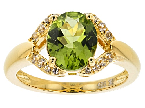 Photo of 2.55ct oval Manchurian Peridot(TM) with .19ctw round white zircon 18k gold over silver ring - Size 12