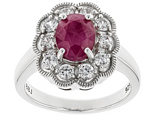 Photo of 1.27ct oval Burmese ruby with .84ctw round white zircon rhodium over sterling silver ring - Size 10
