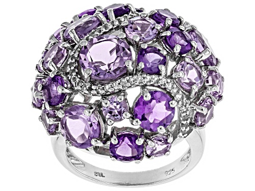 Photo of 7.93ctw Rose de France Brazilian & African Amethyst, .19ctw Topaz Rhodium Over Silver Dome Ring - Size 7