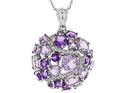 Photo of 7.95ctw Round Brazilian & African Amethyst, .19ctw Topaz Rhodium Over Silver Dome Pendant W/ Chain