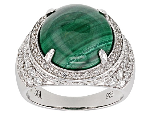 Photo of 13mm Round Malachite With 1.00ctw Round White Zircon Rhodium Over Sterling Silver Ring - Size 8