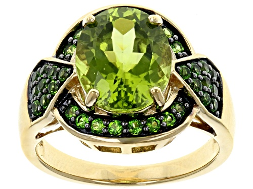 Photo of 3.57CT OVAL MANCHURIAN PERIDOT(TM) WITH .43CTW ROUND CHROME DIOPSIDE 18K GOLD OVER SILVER RING - Size 10