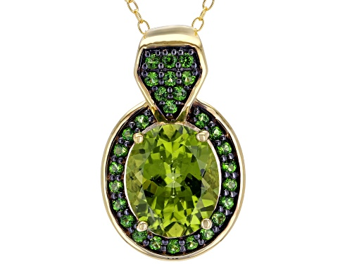 Photo of 3.57CT MANCHURIAN PERIDOT(TM) WITH .36CTW CHROME DIOPSIDE 18K GOLD OVER SILVER PENDANT WITH CHAIN