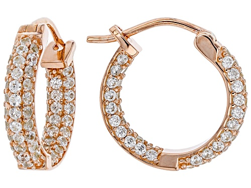 Photo of 2.38CTW ROUND WHITE ZIRCON 18K ROSE GOLD OVER STERLING SILVER INSIDE/OUTSIDE HOOP EARRINGS