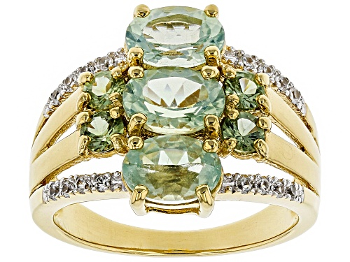 Photo of 2.12ctw Amblygonite, .51ctw Green Sapphire & .12ctw White Zircon 18k Gold Over Silver 3-Stone Ring - Size 7