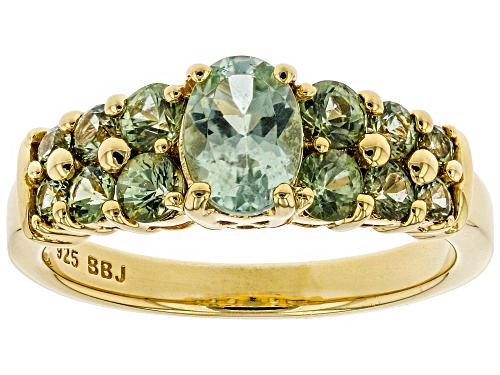 Photo of .64ct Oval Amblygonite With .98ctw Round Green Sapphire 18k Yellow Gold Over Sterling Silver Ring - Size 8