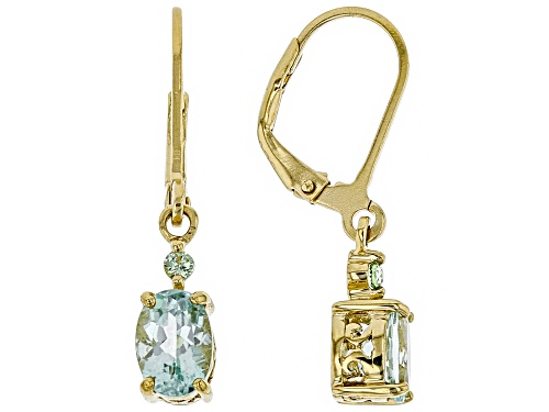 Photo of 1.19ctw Oval Amblygonite With .08ctw Round Green Sapphire 18k Gold Over Silver Dangle Earrings