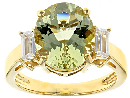 Photo of 4.09ct oval yellow apatite with .45ctw baguette white zircon 18k gold over sterling silver ring - Size 8