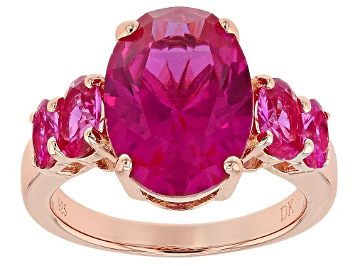 Photo of 7.76ctw Oval Lab Created Pink Sapphire 18k Rose Gold Over Sterling Silver Ring - Size 5