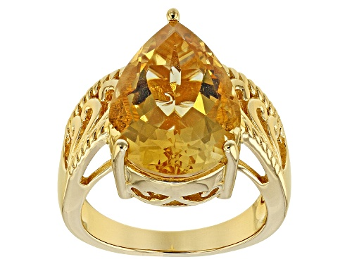 Photo of 5.83ct Pear Shape Golden Brazilian Citrine 18k Yellow Gold Over Sterling Silver Solitaire Ring - Size 9