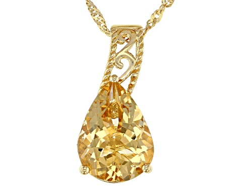 Photo of 6.46ct Pear Shape Golden Citrine 18k Yellow Gold Over Silver Solitaire Pendant With Chain