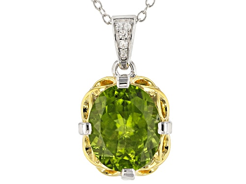 Photo of 4.58ctw Manchurian Peridot™ & White Zircon Two-Tone Rhodium & 18k Gold Over Silver Pendant w/Chain