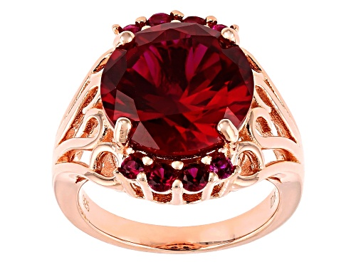 Photo of 9.34ctw Round Lab Created Ruby 18k Rose Gold Over Sterling Silver Ring - Size 7
