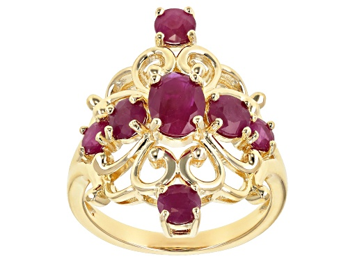 Photo of 2.19ctw Oval & Round Burmese Ruby, 18k Yellow Gold Over Sterling Silver Ring - Size 7