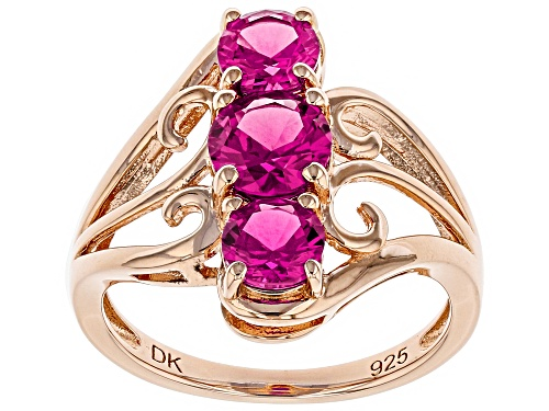Photo of 1.92ctw Round Lab Created Pink Sapphire 18k Rose Gold Over Silver 3-Stone Ring - Size 9