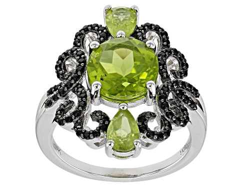 Photo of 3.32ctw Manchurian Peridot(TM) & .31ctw Black Spinel Rhodium Over Silver Ring - Size 8