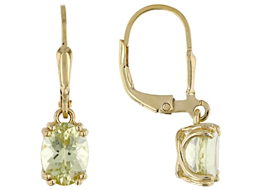 Photo of 2.12CTW OVAL YELLOW APATITE SOLITAIRE 18K YELLOW GOLD OVER SILVER DANGLE EARRINGS