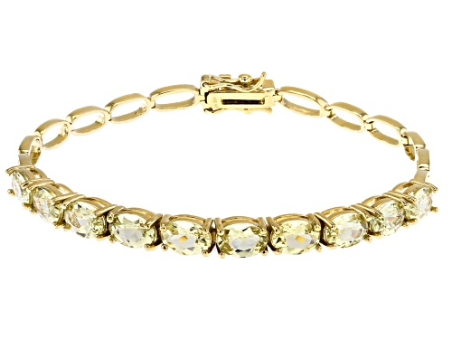 Photo of 6.97CTW OVAL YELLOW APATITE 18K YELLOW GOLD OVER STERLING SILVER TENNIS BRACELET - Size 8