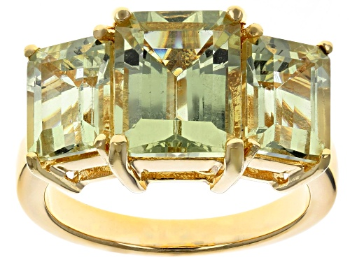 Photo of 6.37CTW EMERALD CUT YELLOW APATITE 18K YELLOW GOLD OVER STERLING SILVER 3-STONE RING - Size 7