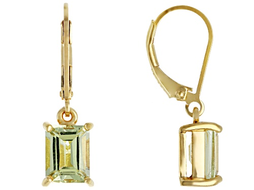 Photo of 3.15CTW EMERALD CUT YELLOW APATITE SOLITAIRE 18K YELLOW GOLD OVER STERLING SILVER DANGLE EARRINGS