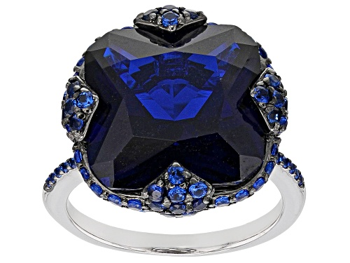 Photo of 12.68CTW SQUARE OCTAGONAL AND ROUND LAB CREATED BLUE SPINEL RHODIUM OVER STERLING SILVER RING - Size 7
