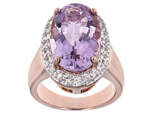 Photo of 8.00ct Oval Lavender Amethyst W/ 1.20ctw White Zircon 18k Rose Gold Over Silver Ring - Size 8