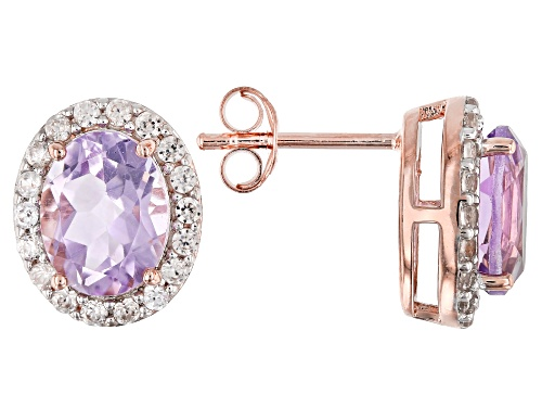 Photo of 3.30ctw Oval Lavender Amethyst W/ .83ctw White Zircon 18k Rose Gold Over Silver Halo Earrings