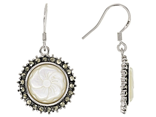 Photo of 12MM ROUND WHITE MOTHER-OF-PEARL FLOWER WITH MARCASITE RHODIUM OVER SILVER EARRINGS