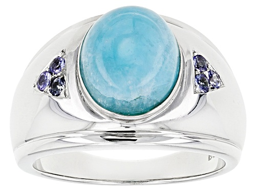 Photo of 12x10mm Oval Peruvian Hemimorphite With .20ctw Round Tanzanite Sterling Silver Mens Ring - Size 12