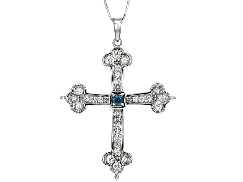 Photo of .20ct Round Nepalese Kyanite & 2.44ctw Round White Zircon Silver Cross Pendant With Chain