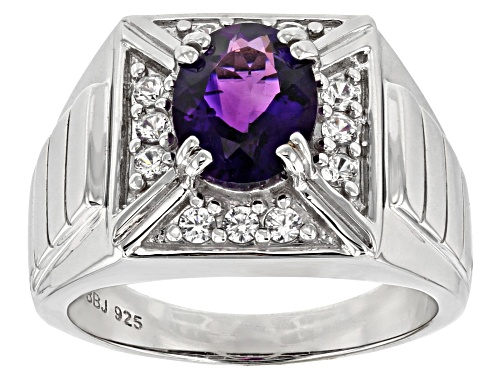 Photo of 1.96CT OVAL MOROCCAN AMETHYST WITH .48CTW ROUND WHITE ZIRCON RHODIUM OVER SILVER MEN'S RING - Size 10