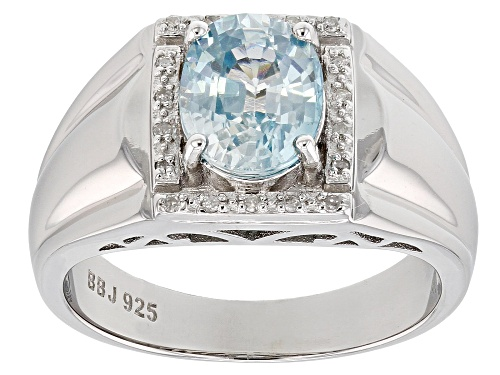 Photo of 3.00ct oval blue zircon with .08ctw white diamond sterling silver Mens ring - Size 10