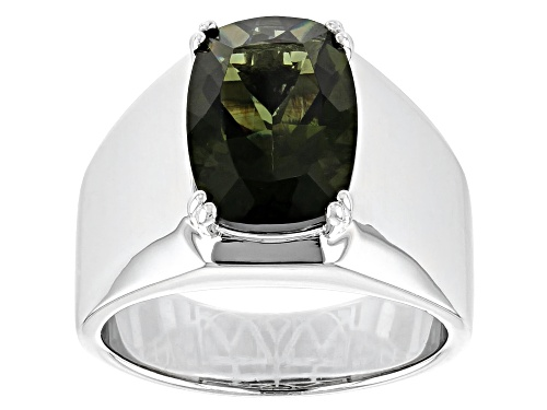 Photo of 4.35ct Moldavite Rhodium Over Sterling Silver Mens Solitaire Ring - Size 11