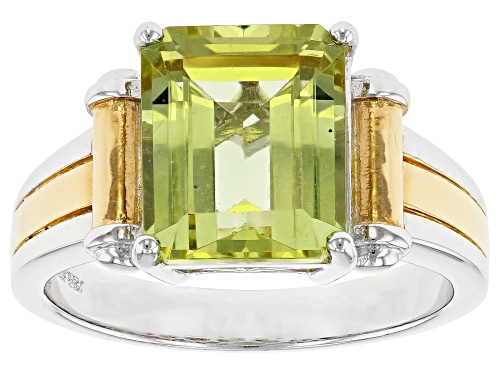 5.86ct Yellow Apatite Rhodium Over Sterling Silver Men's White And Gold Tone Ring - Size 11