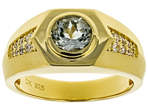 Photo of 1.04ct Round Green Parasiolite & .21ctw White Zircon 18k Yellow Gold Over Silver Mens Ring - Size 12