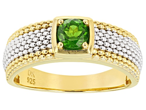 Photo of .47CT ROUND CHROME DIOPSIDE 18K YELLOW GOLD AND RHODIUM OVER SILVER MENS RING - Size 10