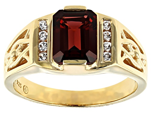 Photo of 2.70ct Emerald Cut Vermelho Garnet™ & .25ctw White Zircon  18k Gold Over Sterling Silver Mens Ring - Size 10