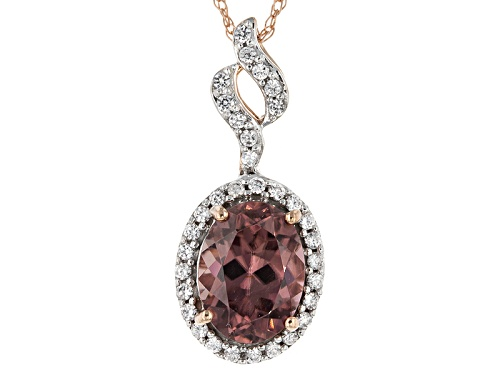 Photo of 1.84ct Oval Pink Zircon And .19ctw Round White Zircon 10k Rose Gold Pendant With Chain